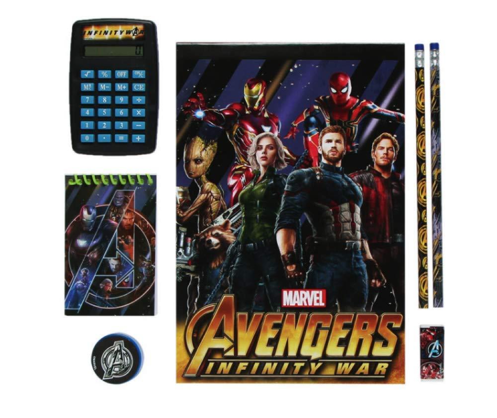 Tri-coastal Design Back to School Boys Character Stationary 7 Piece Calculator, Notepad, Pencils, Eraser & Pencil Sharpener (Avengers Justice League 7 Piece Calculator Set)