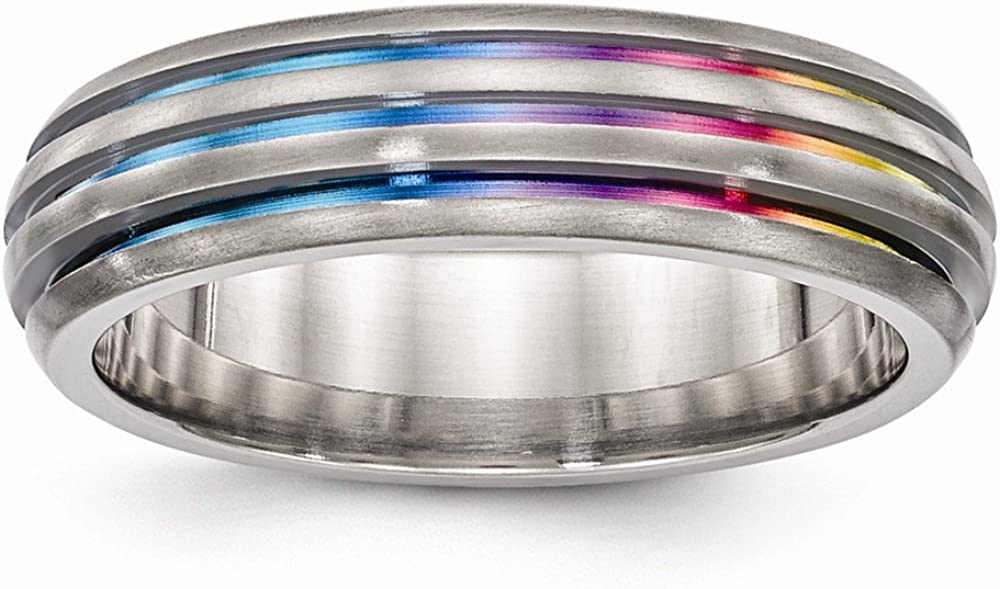 Bridal Wedding Bands Decorative Bands Edward Mirell Titanium Triple Groove Multi-color Anodized Ring Size 8.5