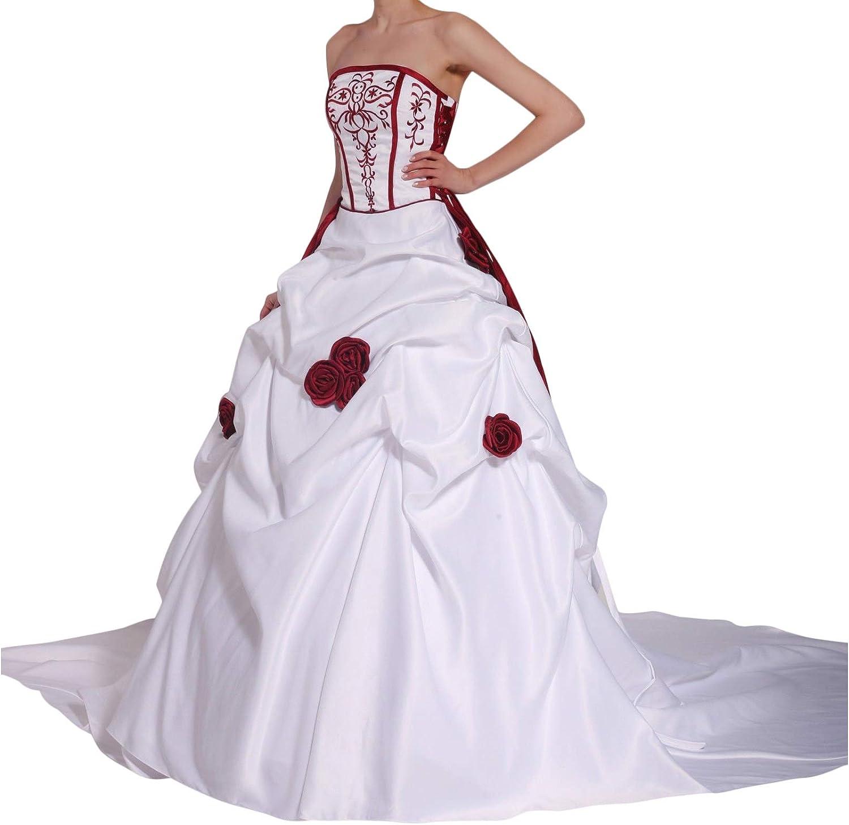 Romantic-Fashion Brautkleid Hochzeitskleid Zweifarbig Weiß/Bordeauxrot  A-Linie Satin Trägerlos Modell PL19