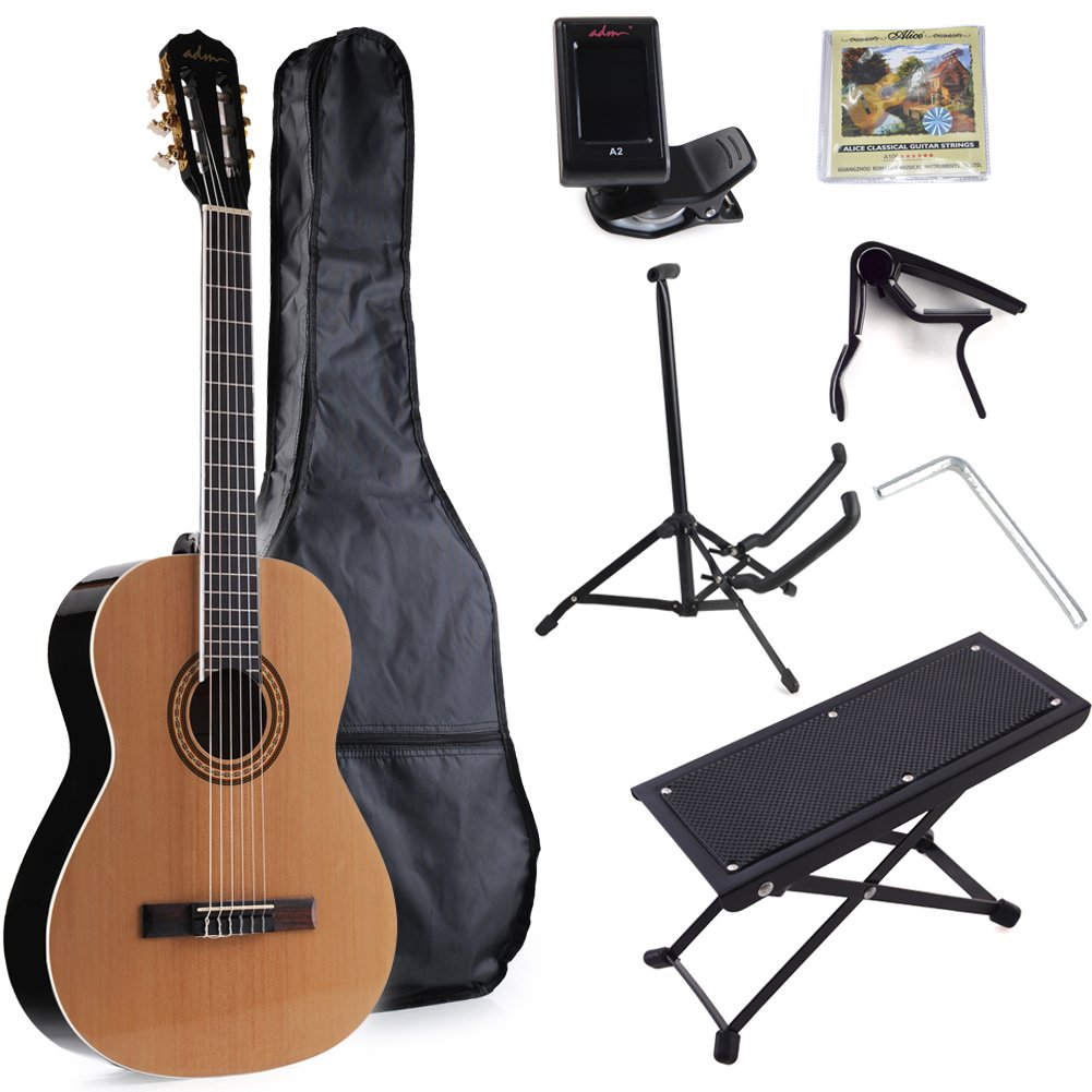 ADM Classical Guitar Full Size 39 Inch Nylon String Beginner Guitar Kit with Gig Bag, Tuner, Capo, Stand, Footstool and Extra Set of Strings