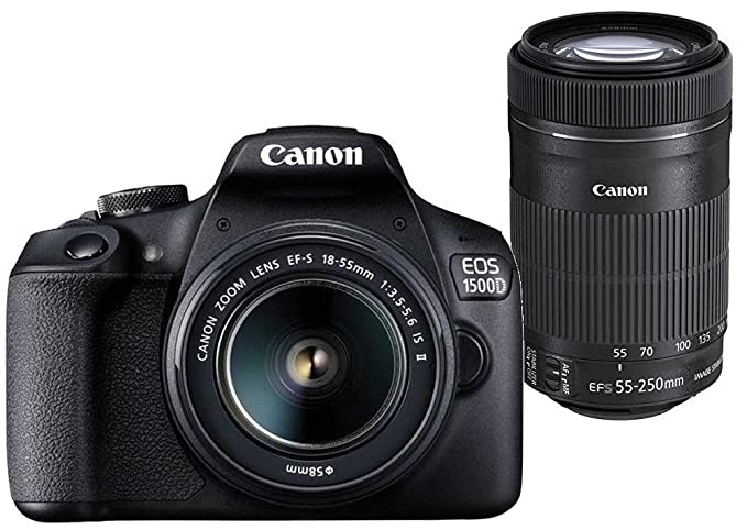 Canon EOS 1500D 24.1MP Digital SLR Camera (Black) with 18-55 and 55-250mm is II Lens, 16GB Card and Carry Case Digital SLR Cameras at amazon
