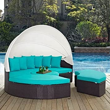 modway convene canopy outdoor patio daybed espresso turquoise