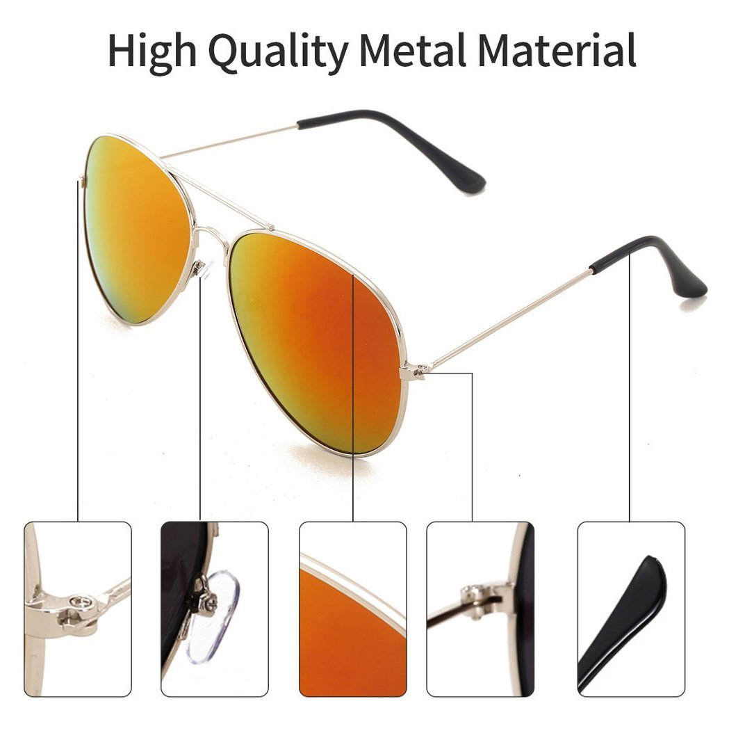 fa1849bea 4sold UNISEX MENS WOMENS 70's Designer Style Unisex Silver Mirror Sunglasses  - UV400 Protection - One Size Fits All - Full Mirrored Lenses (Avi gold ...