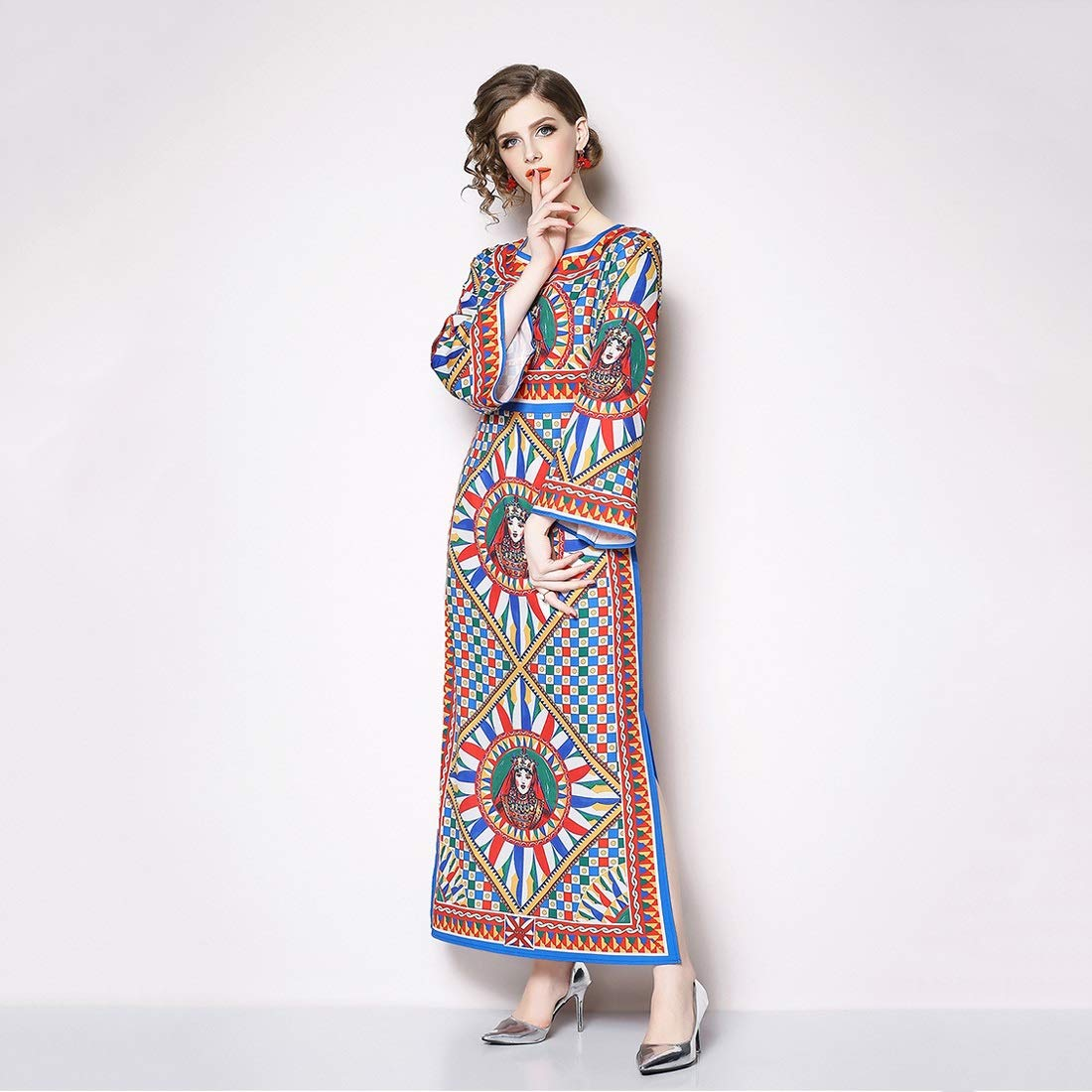 Women's Round Neck Long Sleeves Digital Graffiti Printed Prom Party Maxi Long Dress (Size   M)