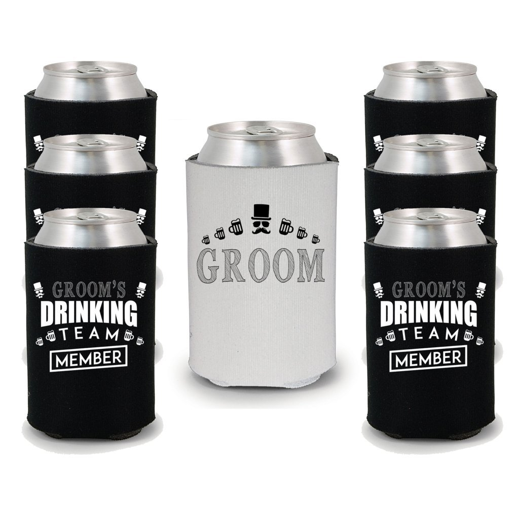 Shop4Ever Groom and Groom's Drinking Team 'Member' Can Coolie Wedding Drink Coolers Coolies Black - 6 Pack