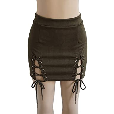 ea0f541b636b Helisopus Women Sexy Winter High Waist Lace Up Tight Bodycon Faux Suede  Short Pencil Mini Skirt