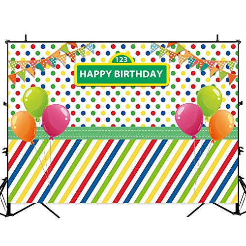 Allenjoy 7x5ft Cartoon Balloon Bunting Street Photography Backdrop First 1st Boy Girl Birthday Party Background Children Party Decoration Supplies Photo Studio Booth Props]()