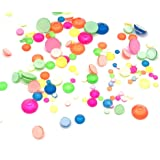 450 pcs 2mm - 6mm Glass Neon Color Mix Round Nail Art Mixed Flatbacks Rhinestones Gems Mix Size [by belle one belle]