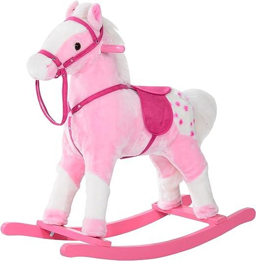 Qaba Kids Plush Toy Rocking Horse Pony with Realistic Sounds