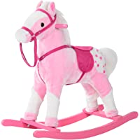 Qaba Kids Plush Toy Rocking Horse Pony with Realistic Sounds - Pink
