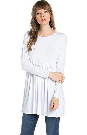 26447b1b8b3 2LUV Women's Solid Long Sleeve Baby Doll Tunic Dress White M (ATP-2271RS-