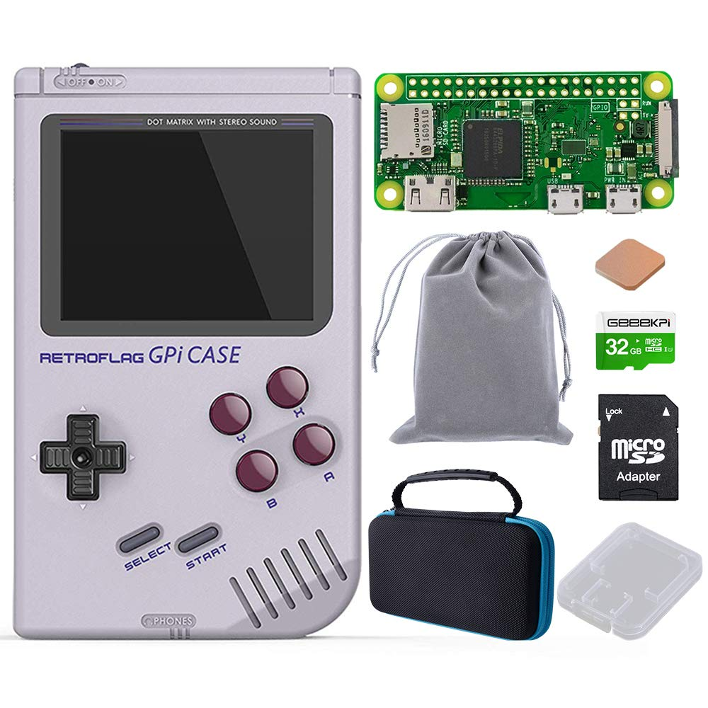GeeekPi Retroflag GPi Case with Raspberry Pi Zero W & Raspberry Pi Heatsink & Black Carrying Bag & 32G SD Card for Raspberry Pi Zero and Zero W with Safe Shutdown (GPi Case with Zero W Bag 32G) by GeeekPi