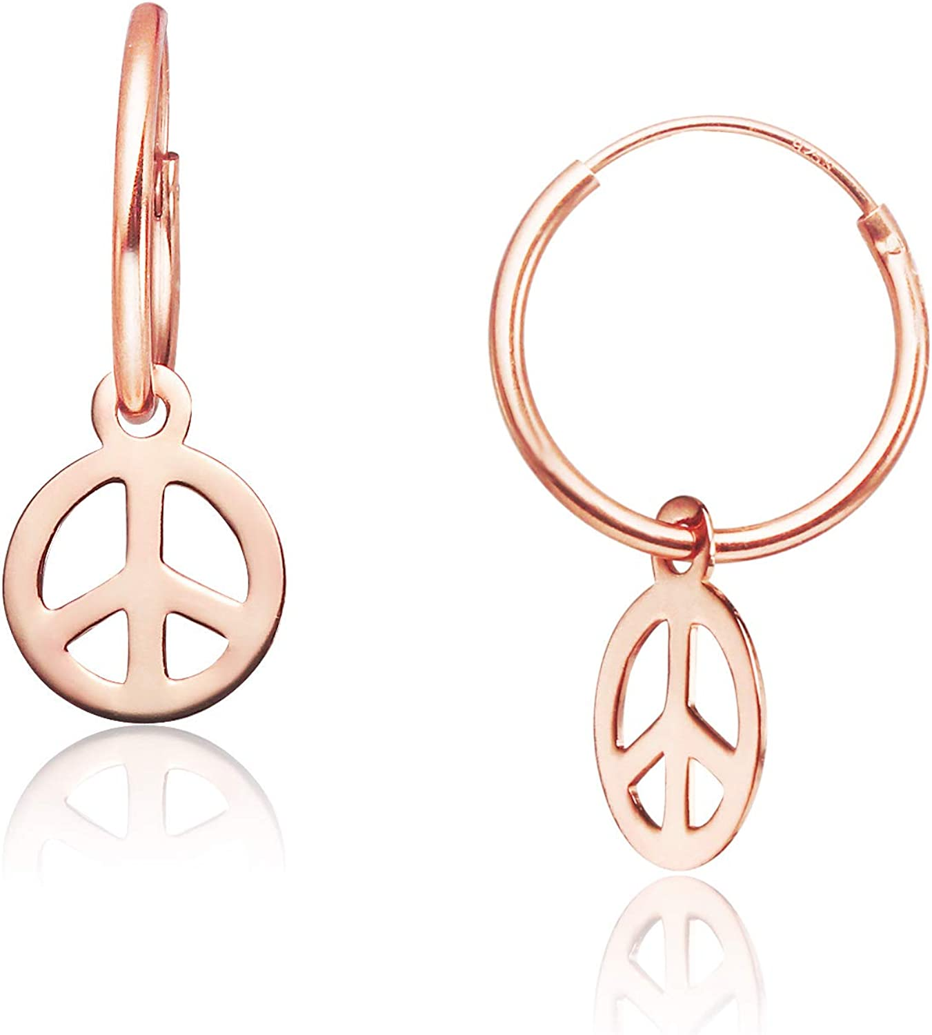 Big Apple Hoops - High Polished Peace Sign Charm Hoop Earrings Made from Genuine 925 Sterling Silver in 3 Color Rose, Silver or Gold with Protective Electrocoated Finish for Maximum Anti-Tarnish