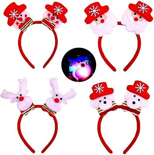 Christmas LED Headband Santa Claus Xmas Hair Band Headwear Kids Adult Gift