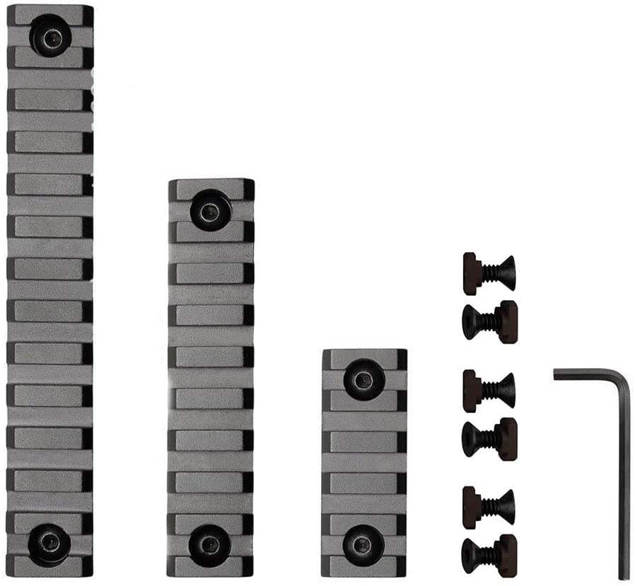 3 Packs Aluminum M-L-ok Rail,5 9 13 Slot Lightweight M-L-ok Picatinny Rail Section Accessories with 6 T-Nuts & 6 Screws & 1 Allen Wrench
