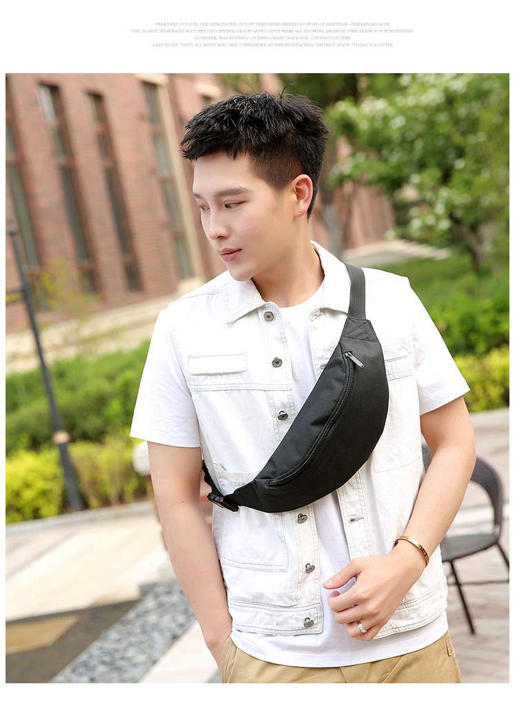 Easyflower Cross Body Messenger Bag Mens Fashion Waist Bag Polyester Messenger Bag Chest Bag Outdoor Sports Backpack Black