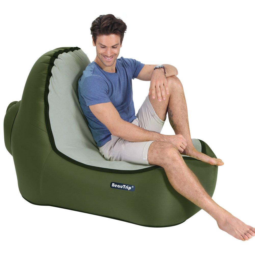 Beautrip Poltrona gonfiabile per esterni, incredibile design ergonomico, ideale per picnic, campeggio, spiaggia, uscite, godetevi il tempo all'aria aperta
