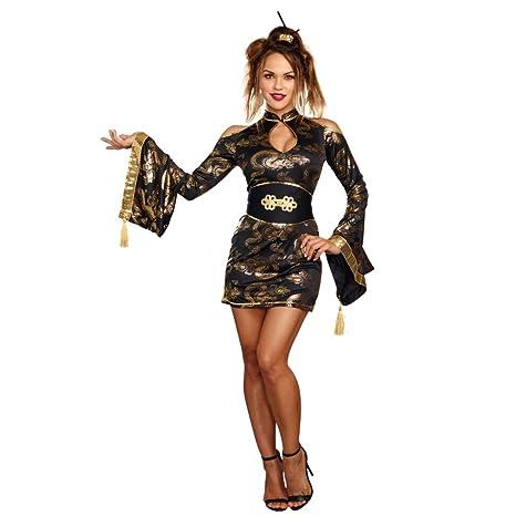 5e2385cc11 Premium Body Wear AG Disfraz Golden Geisha (Tallas S – XL Vestido Cinturón  Leggings Fasching