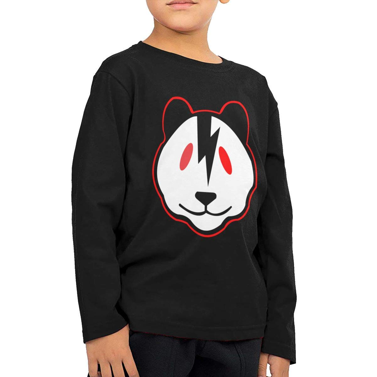 Rhfjgk Ldjg Bear Face with Lightning Youth Boys Long Sleeve Tees Cotton