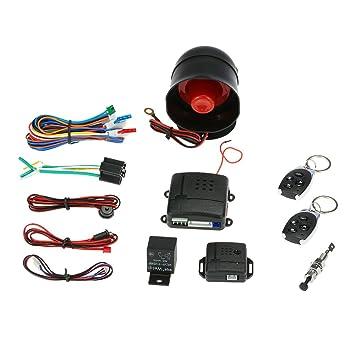 KKmoon Sistema de alarma antirrobo para coche o vehículo, seguridad y protección, 2 mandos a distancia