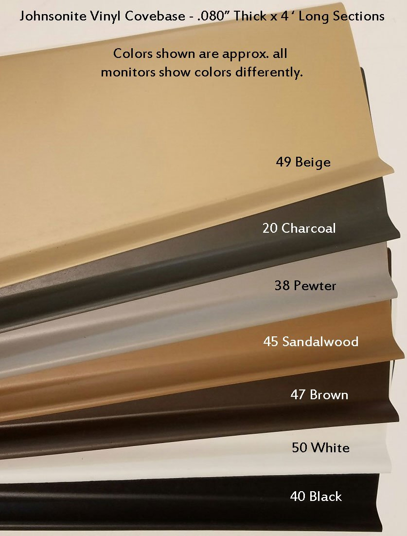 Johnsonite Vinyl Covebase with Toe 4'' high x .080 Gauge - 7 Colors Available - 40' per pack (10 pcs x 4') (40 Black)