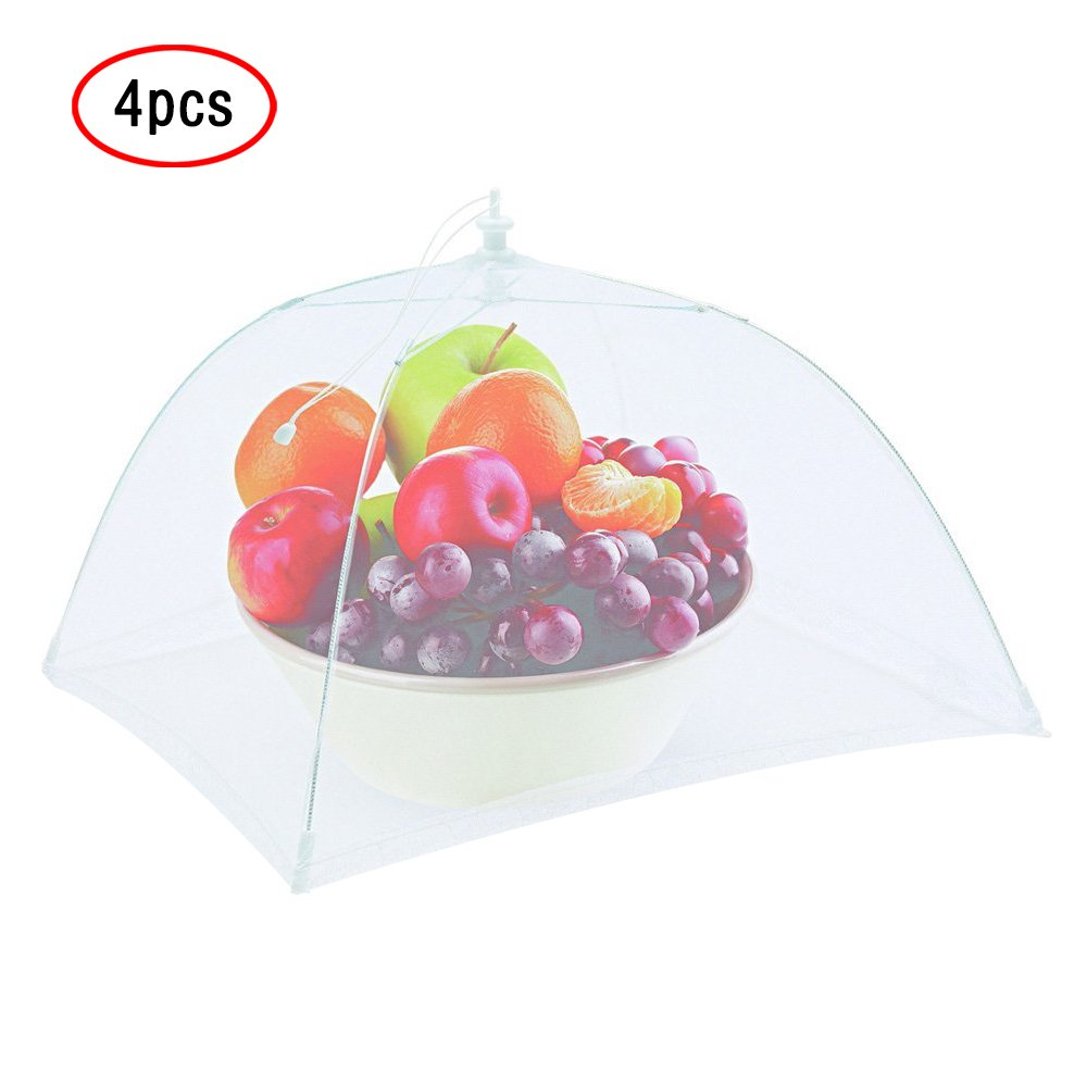 Food Cover Tents(4PCS Pop Up Mesh Screen Food Cover Reusable and Collapsible) Outdoor Food Cover,Food Protector Tent Keep Out Flies,Bugs, Mosquitoes 17'')