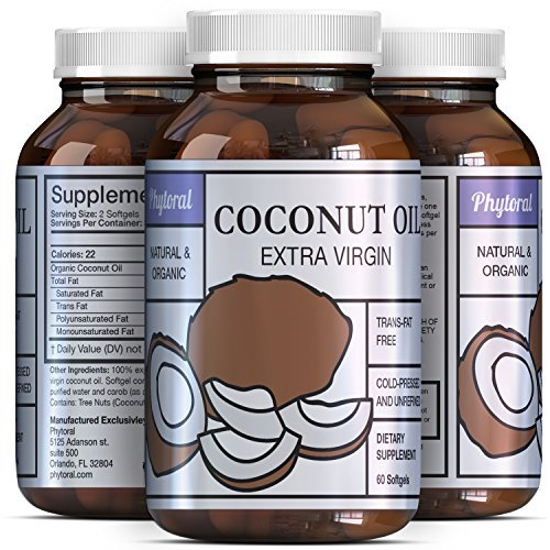 Bio Sense's Extra Virgin Coconut Oil - Weight Loss Pills - Coconut Oil Softgels - Pure Antioxidant - Boost Immune System - More Potent Than Sunflower Oil & Olive Oil - Organic Coconut Oil Pill