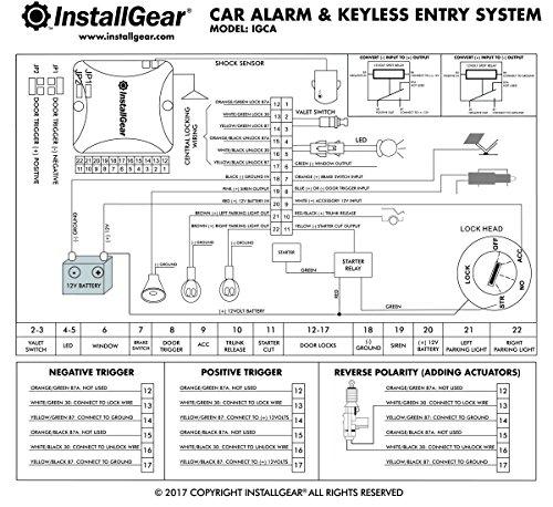 Installgear car alarm security keyless entry system