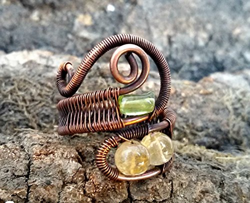 Copper or silver ring Citrine and Peridot, Wire wrapped ring, Gemstone jewlery, handmade wire ring.