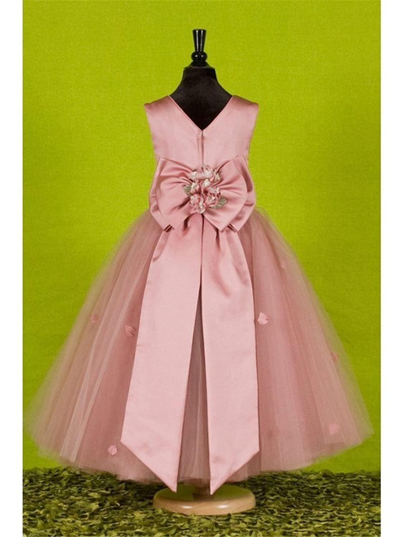 CLOCOLOR Girl's A-line Tulle Round Neckline Ankle Length Waist Flower Girl Dress for Weddings