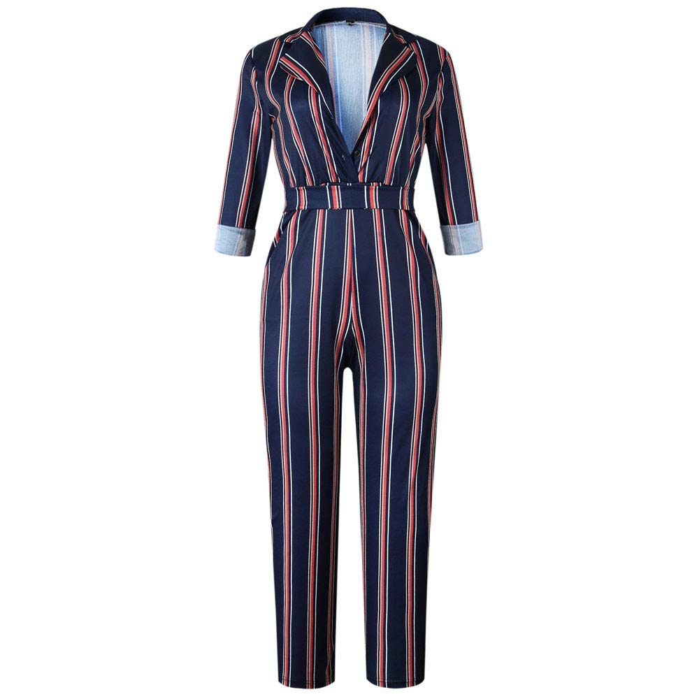 Womens Deep V Neck Jumpsuit Striped Rolled Sleeves Playsuit Rompers with Belt