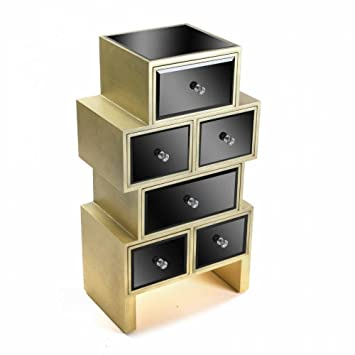 Kommode schwarz glas  Kommode Varese aus Glas schwarz 6 Schubladen Design Gold: Amazon.de ...