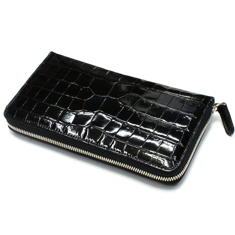 CRG1114-BLACK グレージング クロコダイル長財布 ラウンドファスナー ブラック 黒 本革 日本製 ワニ革 レザー 艶 B06XKB3QGJ