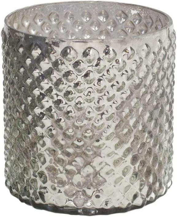 """Serene Spaces Living Antique Silver Hobnail Vase, Medium - Beautiful Mercury Glass in a Vase, Use for Weddings, Parties, Events, Home Decor, 5"""" in Diameter & 5"""" Tall"""