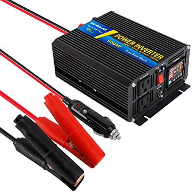 Power Inverter Pure Sine Wave 500W DC 12V to 110V AC Converter Car Adapter True Sine Wave Inverter for Car with 2 AC Outlets LCD Display: Car Electronics