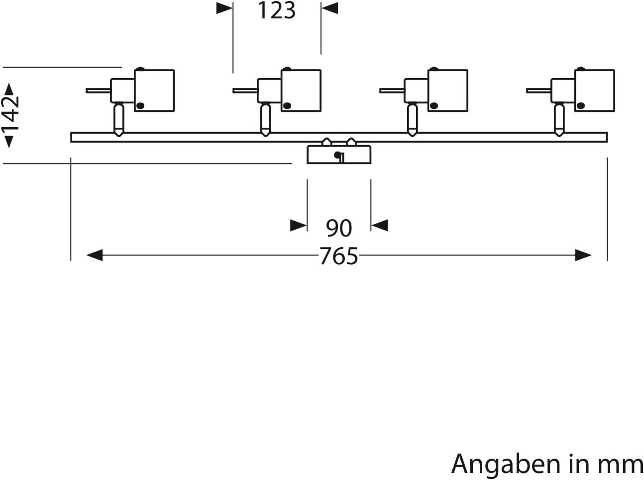 ledscom.de Leuchte MIRAS, vierflammig, GU12, Deckenleuchte