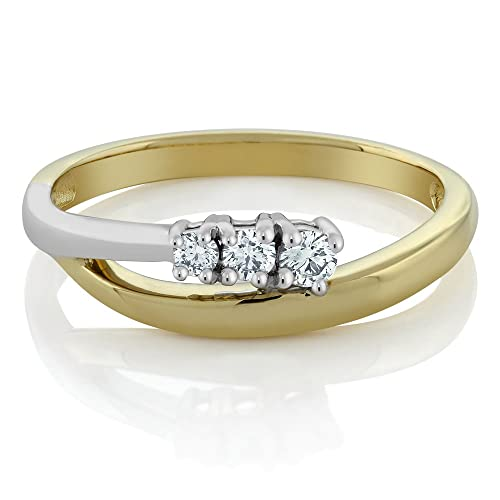 Gem Stone King 14K Solid 2-Tone Yellow and White Gold Diamond 3-Stone Bypass Ring 0.25 cttw Available 5,6,7,8,9