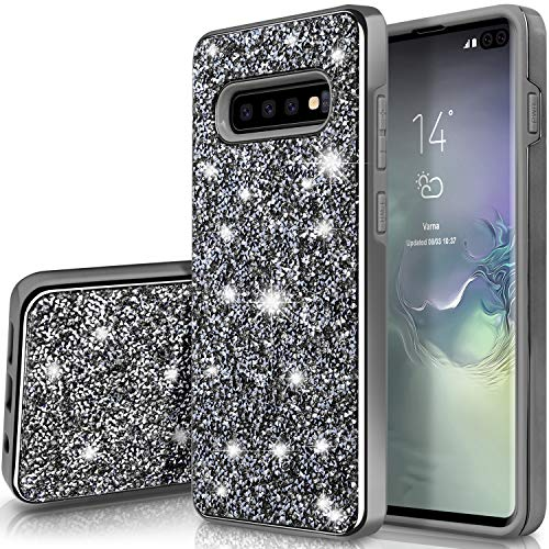 Galaxy S10 Case,SQMCase Heavy Duty Glitter 2 in 1 Rugged Hybrid Soft TPU Inner + Hard PC Outer with Crystal Shiny Diamond Protective Shockproof Case for Galaxy S10, Shiny/Black ()
