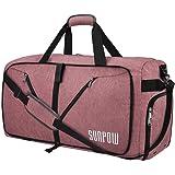 SUNPOW 85L Travel Duffel Bag, Large Weekender Bag With Shoes Compartment Tear Resistant Packable Duffle Bag For Men Women Orange-Pink
