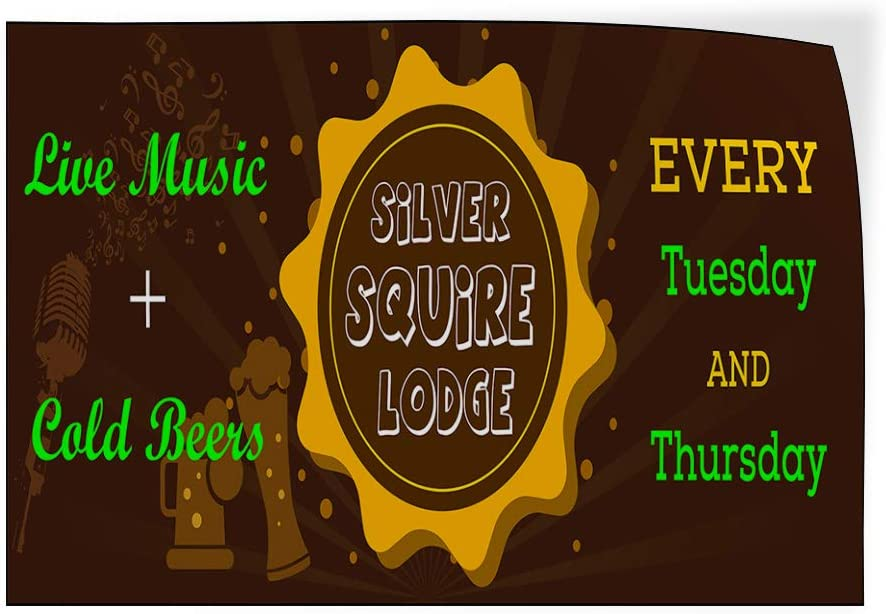 Custom Door Decals Vinyl Stickers Multiple Sizes Silver Squire Lodge Live Music Beer Business Silver Aquire Lodge Outdoor Luggage /& Bumper Stickers for Cars Brown 27X18Inches Set of 10