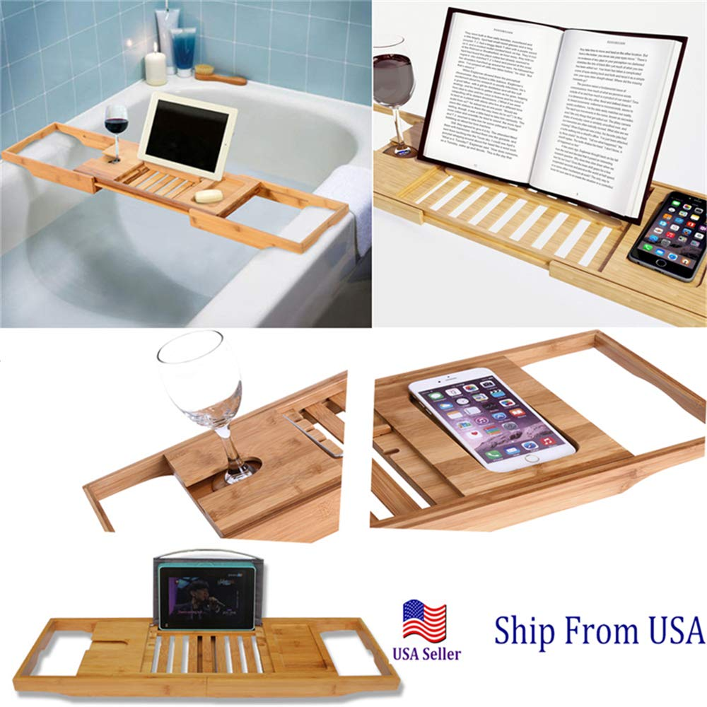 YALEEE Bathtub Tray Caddy Rack Bathroom Wood Book Phone Tablet Holder for Relaxing