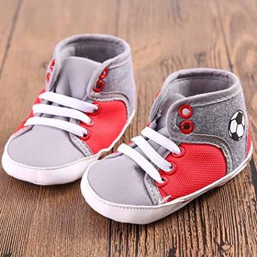 Tefamore zapatos bebes sneaker de primeros pasos de antideslizante de sole suave de moda invierno de calentar de Lona Rojo