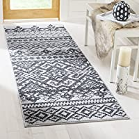 26 x 6 Silver Black Southwestern Theme Runner Rug Rectangle, Indoor Grey Tribal Pattern Hallway Carpet Geometric Aztec Entryway Southwestern Chevron Zigzag Cabin Lodge Entrance Way, Polypropylene