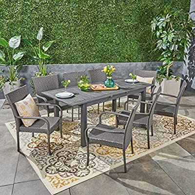 Great Deal Furniture Ellis Outdoor 9 Piece Wood and Wicker Expandable Dining Set, Dark Gray and Gray - Make sure this fits                by entering your model number. If you're going to invest in a fine place for you and your loved ones to dine outdoors, you may as well allow room for your family to grow. This expandable dining set seats eight and the adjustable table allows you to customize its dimensions to accommodate not only new friends and relatives but also larger meals and other activities that may call for just a bit more space. Includes: One (1) Dining Table and Eight (8) Chairs. Table Material: Acacia Wood. Chair Material: Polyethylene Wicker. Chair Frame Material: Iron. - patio-furniture, dining-sets-patio-funiture, patio - 61TMeTIuz%2BL. SS400  -