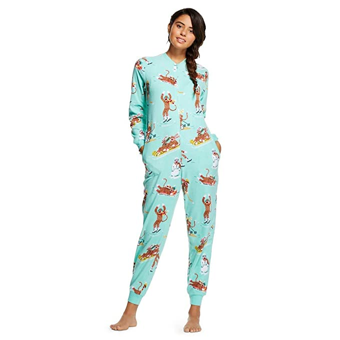 Nick & Nora Womens Sock Monkey Fleece One Piece Pajamas Aqua ...