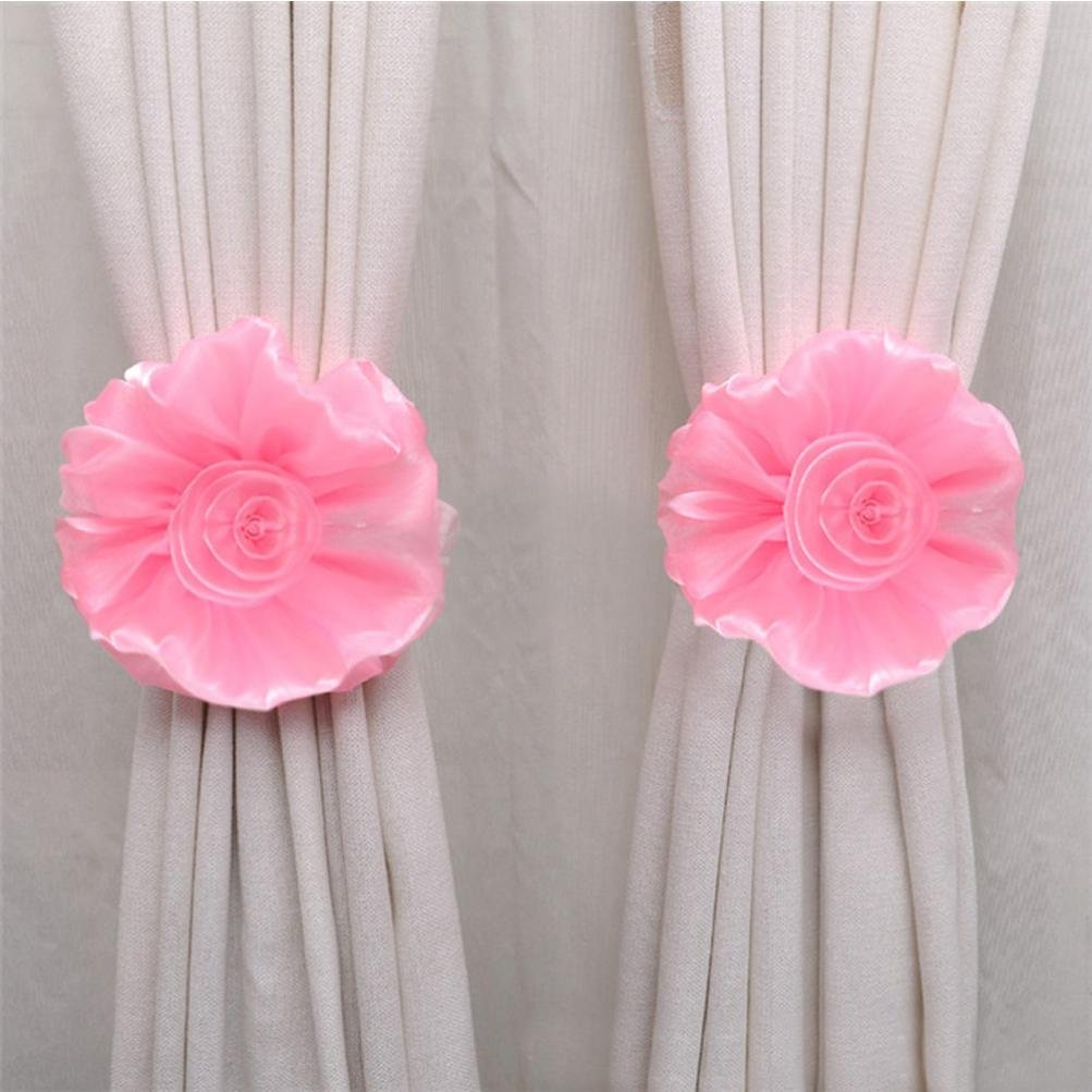 Clearance!Cute Curtain Holdback Rose Flower Window Curtain Tieback Buckle Clamp Hook Fastener For home decoration (Pink)