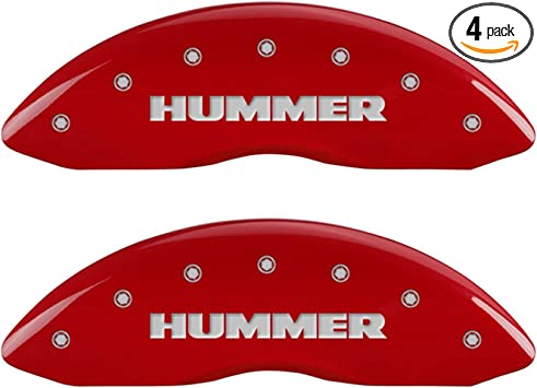 Set of 2 MGP Caliper Covers 34207FGMCRD GMC Engraved Caliper Cover with Red Powder Coat Finish and Silver Characters,