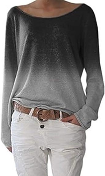 YFASHION - Camisa de manga larga para mujer, sudadera, talla grande: Amazon.es: Ropa y accesorios