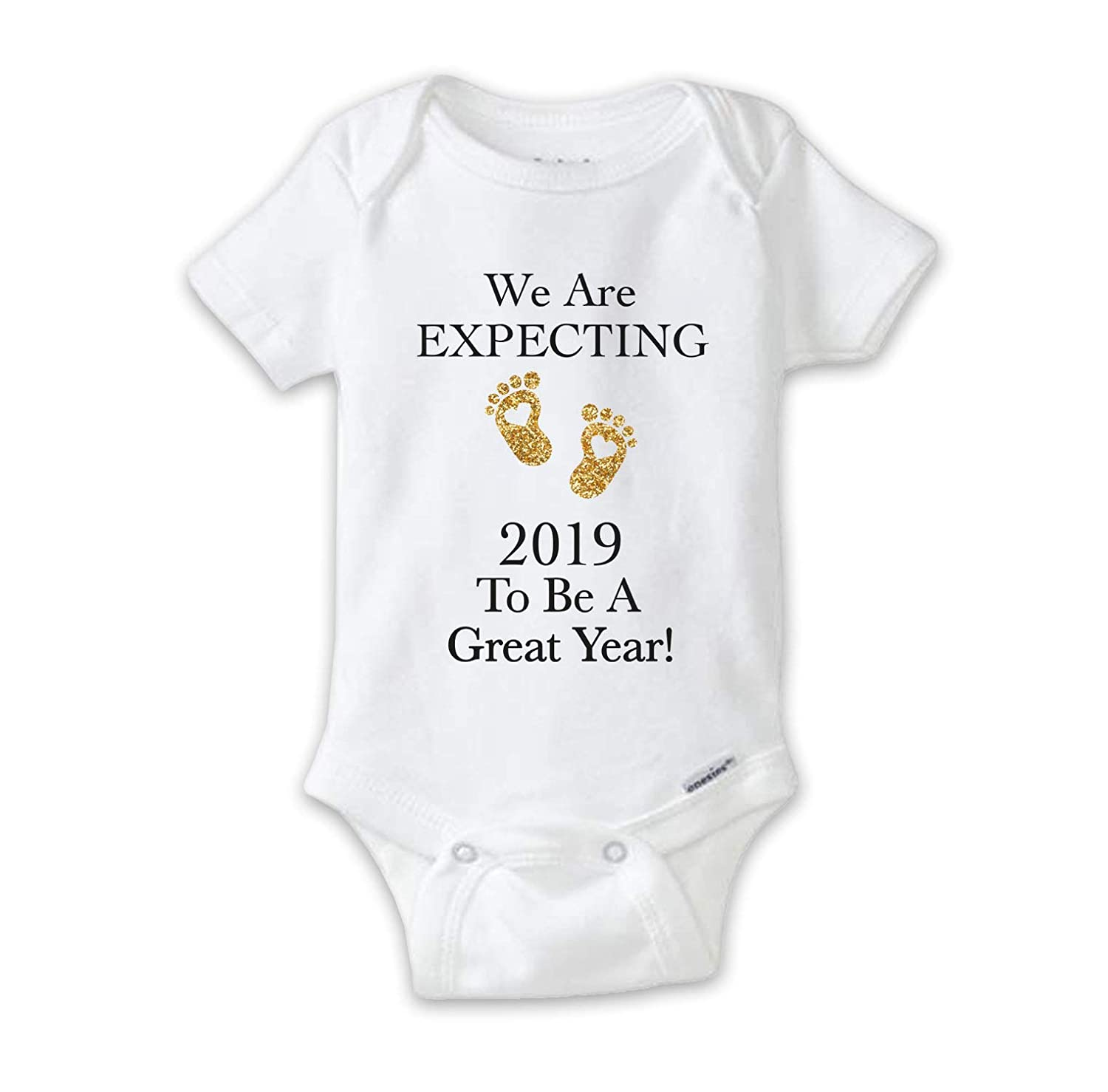 d7327905e06f9 Amazon.com: We are Expecting 2019 to Be A Great Year Baby Bodysuit, Pregnancy  Announcement Onesie, New Baby Reveal: Clothing