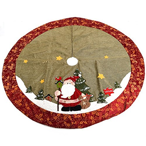 Chic Gift Large Snowman Christmas Tree Skirt with Snowflake Floral Rim, 48